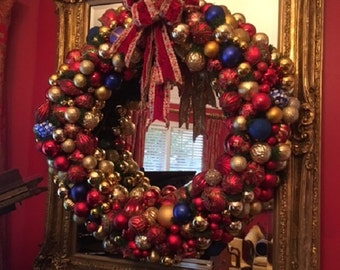 NOT FOR SALE- 45 x 45 inches, Red Blue Gold Holiday Wreath