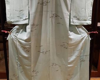 Shoken Silk Komon Kimono - Textured Baby Blue
