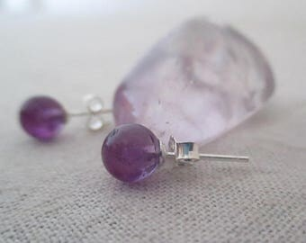 Amethyst studs in 925 sterling silver bullet earrings.