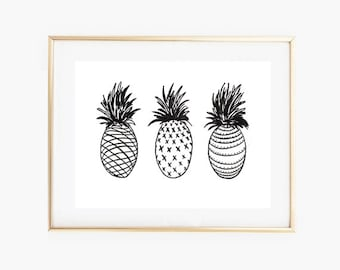 Black and White Wall Art,Pineapples Print,Tropical Wall Art, Tropical Pineapples Print,Black and White Art,Minimalist Art Print, Digital Art