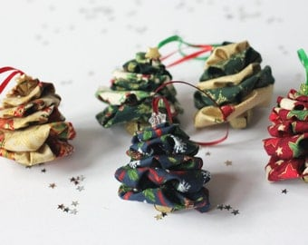 Handmade fabric Christmas tree decorations