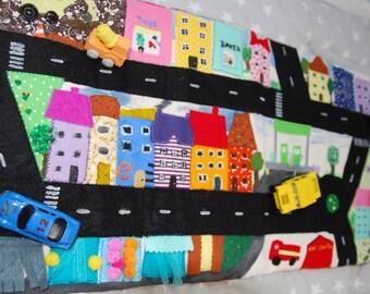 Travel Town/Car play mat, roll up quiet play mat