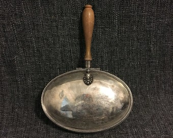 F.B. Rogers Silver-Plated Silent Butler, Crumb Tray with Odessa Panhellenic 1948-1949 Lion Lid Insignia