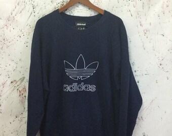 SALE 25% Vintage 90s Adidas Trefoil Sweater Sweatshirt Pullover Size M