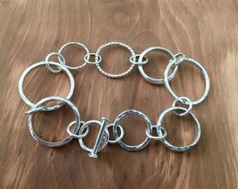 Silver ring bracelet, silver bracelet, handmade bracelet, ring bracelet, bracelet of rings, unusual bracelet, bracelet, linked bracelet