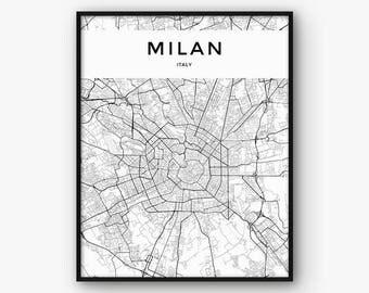 Milan Map Print, Milan Print, Milan Poster, Milan Wall Art, City Map Print, Italy Print, Italy Map, Fashion Print, Milano Print, Milan Decor