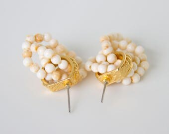 Vintage Gold with Pearl Colored Beaded Earrings