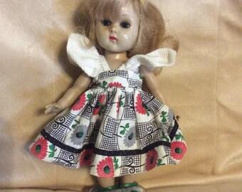"Vogue Ginny Doll 8""  Blond Original Virga dress shoes & Heart stand"