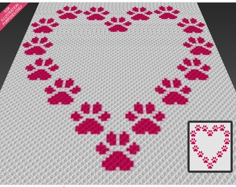 Paws Heart crochet blanket pattern; c2c, cross stitch; knitting; graph; pdf download; no written counts or row-by-row instructions