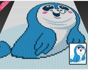 Baby Seal crochet blanket pattern; c2c, cross stitch; knitting; graph; pdf download; no written counts or row-by-row instructions