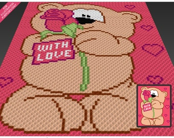 Valentine's Bear crochet blanket pattern; c2c, cross stitch; knitting; graph; pdf download; no written counts or row-by-row instructions