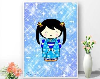 """Japanese girl, """"Aoi"""" poster, Art prints, Home decor wall art, Kids wall art, Nursery wall art, Nursery decor."""
