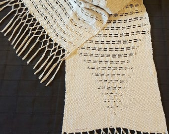 stole, scarf, silk, linen, lace, handwoven, frame, handcrafted