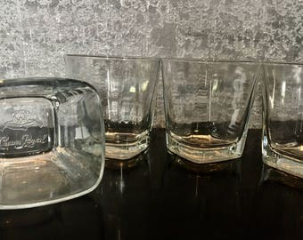 Crown Royal Low Ball Whiskey Rocks Tapered squared top Glasses made in Italy Set of 4