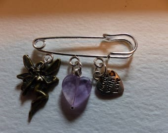 Fairy Safety Pin Charm Brooch
