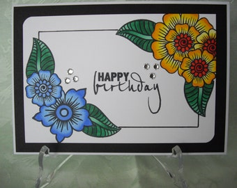 Hennah, greeting card, greeting card, happy birthday flowers