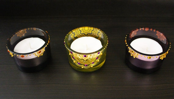 Henna Tealight Candle Holders - Set of 3