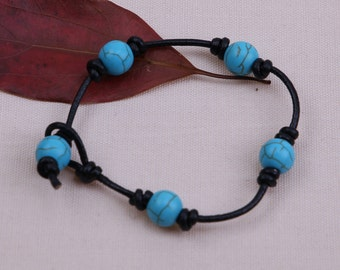 Handmade 3 Turquoise Beaded Bracelet, Women Leather Wrist Band,10mm Blue Stone Jewelry,Knotted Girls Bracelet Black Brown,B0012