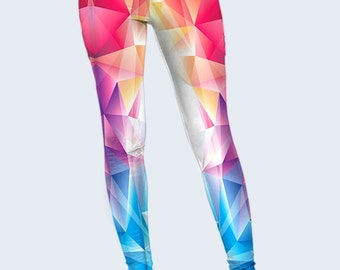 Multicolor Triangles Leggings, Geometry Womens Leggings, Leggings for Women, Yoga Leggings, Printed Leggings, Leggings Yoga