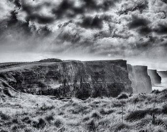Cliffs of Moher in Black and White, County Clare, Ireland, Europe, Travel Photography, Fine Art Print, Home Decor