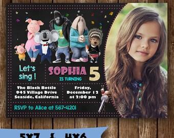 Sing movie invitation sing birthday invitation sing party invite girl sing movie tickets card printable supplies sing birth sing invites svg