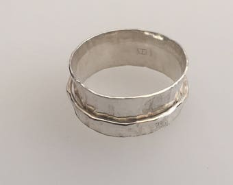 Sterling Silver hammered ring on ring
