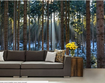 FOREST WALL MURAL, trees wall mural, nauture mueal, forest mural, self-adhesive vinly, pines wall mural, night wallpaper, snow wall mural