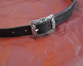 "Black leather belt ""Croc"""