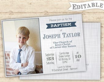 Editable Baptism Invitation Boy Modern Digital Print Grey Blue Printable PDF Editable LDS Baptism boy invitation lds baptism printable