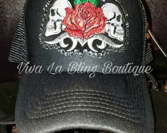 Custom Bling Skulls/Skull Trucker Hat with Rose Black Diamond Crystals