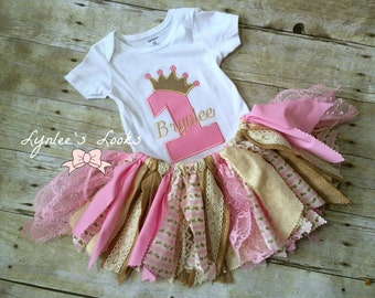 Shabby chic scrappy birthday tutu outfit