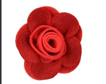 Classic felt rose Brooch - Red - vintage style flower brooch
