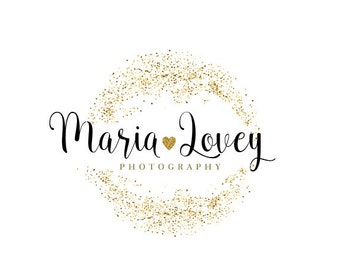 Pre-made Gold glitter logo for personalising, photography,wedding logo, beautiful logo, beauty,shop logo,glitter,gold