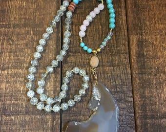 Moon Agate & Druzy Necklace