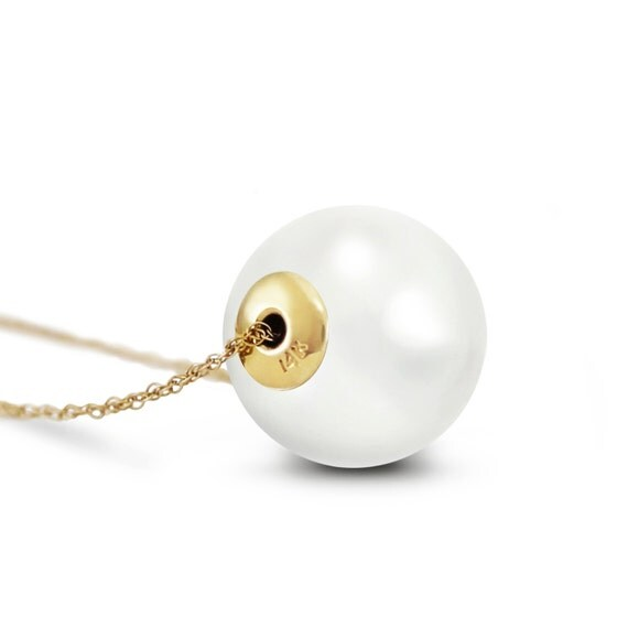 Princess White Pearl  Gold  Necklace With  16.0 mm WHITE SHELL PEARL