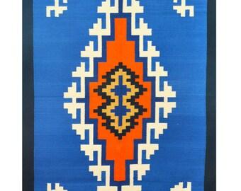 3x5 Area rug,  Floor rug, Dhurrie rug, Blue Cotton Rugs, Handmade Indian Flat Weave Kilim Rug, Bohemian Decor, Southwestern Cotton Rugs