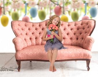 Newborn Digital Backdrop, Easter Backdrop,  Child Backdrop, Digital Background, Easter Eggs, Pastel Colors, Antique Couch, Spring background