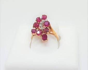 Vintage 14KY Ruby & Diamond Ladies Ring Size 6.5 with Appraisal