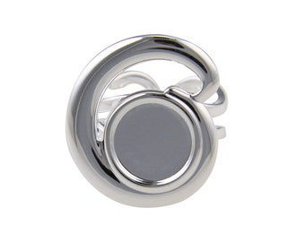 Silver Plated Wave Top Adjustable Ring with 12mm Cup