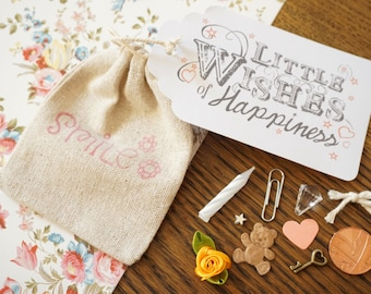 "Little Bag of Happiness - ""Little Wishes"" Novelty Handmade Personalised Keepsake Gift"