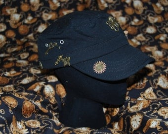 upcycled steampunk military style swat hat