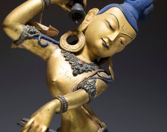 "Beautiful 19th Century Tibetan Antique Gilt Bronze Buddha Figure of Dakini "" Sky Dancer"""