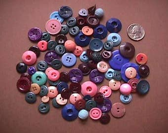 Lot of Vintage Celluloid & Plastic Buttons - Pink / Blue / Purple Hues
