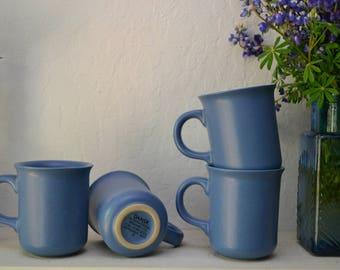 Vintage Blue Dansk Stoneware Mug Set eclectic/boho/kitchen/ coffee cups