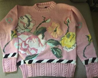 Berek Pink Roses Women's Sweater Size M 1980's