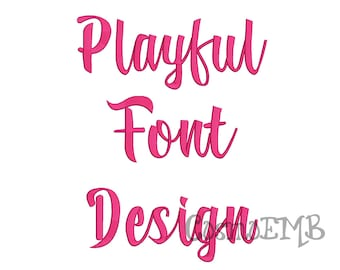 4 Size Playful font Embroidery Design Machine Embroidery - Digital INSTANT DOWNLOAD