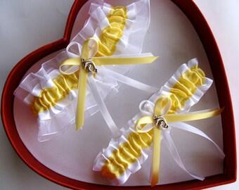 Wedding Garter Yellow White Wedding Garter Set Select Keepsake Garter Toss Garter