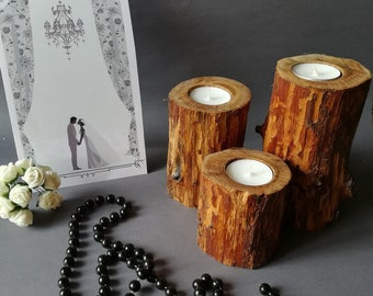 Rustic candle holders. Wooden candlesticks. Wood Candle holder. Wood Candle Holder.Wood tealight holder.Wooden candleholder.Wood Tea Light