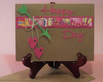 Happy Valentine's Day MY HEART - handmade greeting card for him or her with a matching envelope