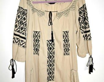 Bohemian Dress Tunica 100% Cotton,Embroided Dress,Hippie Embroidery,Folk Dress,Ethno Embroidered Dress,Hippie Dress,Coachella,Festivallook
